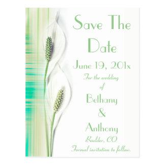 White Calla Lily  Save the Date Postcard