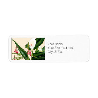 White Callalily Flowers Botanical Art Return Address Label