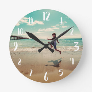 White Calligraphy Numbers Custom Photo Round Clock