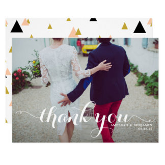 White Calligraphy Script Photo Wedding Thank You 13 Cm X 18 Cm Invitation Card