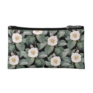 White Camellia om black pattern Cosmetic Bag