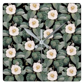 White Camellia om black pattern Square Wall Clock