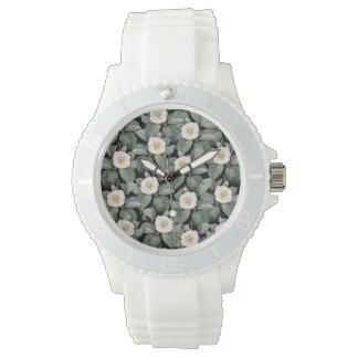 White Camellia om black pattern Watch