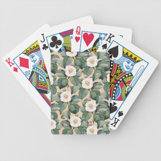 White Camellia on beige pattern Bicycle Playing Cards