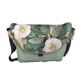 White Camellia on beige pattern Courier Bag
