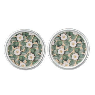 White Camellia on beige pattern Cuff Links