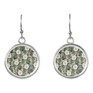 White Camellia on beige pattern Earrings
