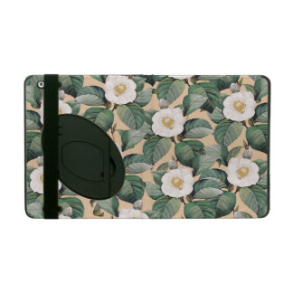 White Camellia on beige pattern iPad Folio Case