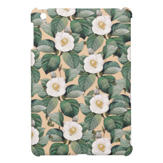 White Camellia on beige pattern iPad Mini Cover