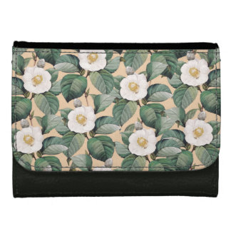White Camellia on beige pattern Leather Wallet