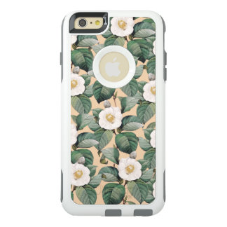 White Camellia on beige pattern OtterBox iPhone 6/6s Plus Case