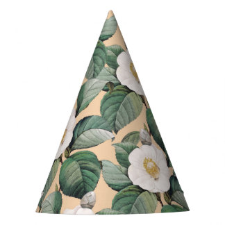 White Camellia on beige pattern Party Hat