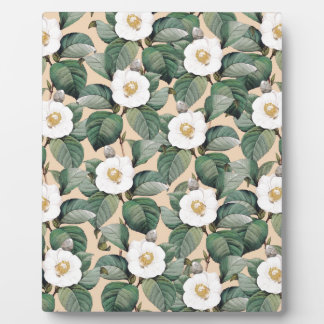 White Camellia on beige pattern Plaque