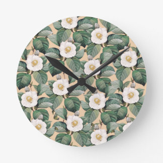 White Camellia on beige pattern Round Clock