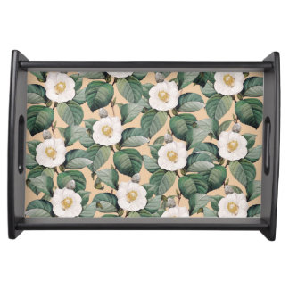 White Camellia on beige pattern Serving Tray