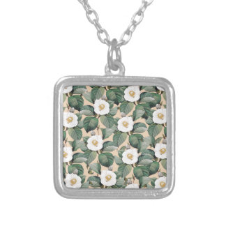 White Camellia on beige pattern Silver Plated Necklace