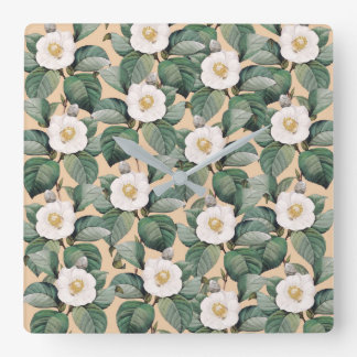White Camellia on beige pattern Square Wall Clock