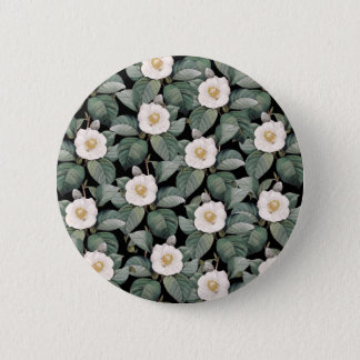 White Camellia on black pattern 6 Cm Round Badge