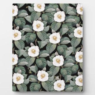 White Camellia on black pattern Plaque