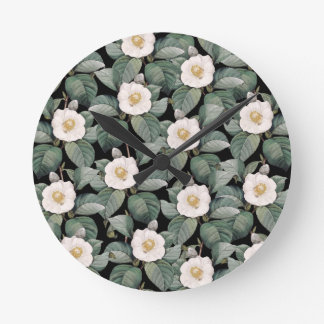 White Camellia on black pattern Round Clock
