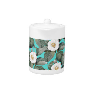White Camellia on Teal Pattern
