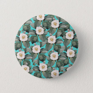 White Camellia on Teal Pattern 6 Cm Round Badge