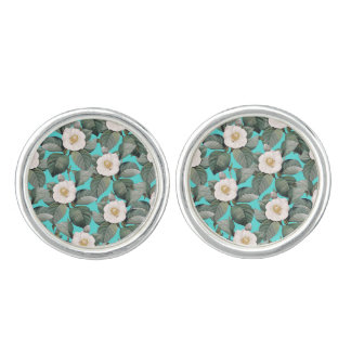 White Camellia on Teal Pattern Cuff Links