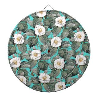 White Camellia on Teal Pattern Dartboard