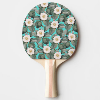 White Camellia on Teal Pattern Ping Pong Paddle