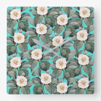White Camellia on Teal Pattern Square Wall Clock
