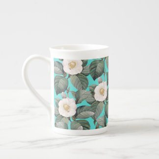 White Camellia on Teal Pattern Tea Cup