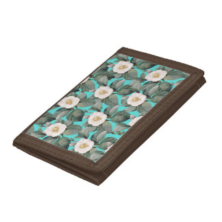 White Camellia on Teal Pattern Trifold Wallets