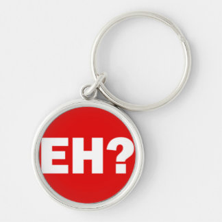 White Canadian EH with Question Mark on Red Silver-Colored Round Key Ring