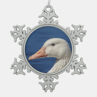 White Canadian Goose Snowflake Pewter Christmas Ornament
