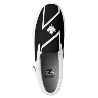 White CANADIAN Maple on Black Slip On Shoes