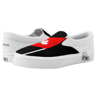 White CANADIAN Maple on Red and Black Slip-On Shoes