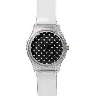 White Candy Polkadot Hearts on Black Watch