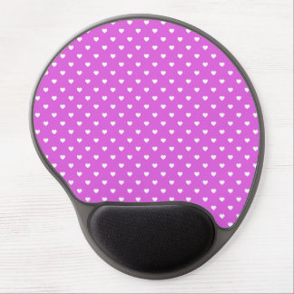 White Candy Polkadot Hearts on Lilac Gel Mouse Mats