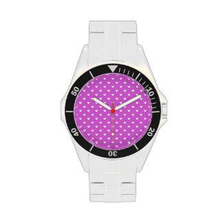 White Candy Polkadot Hearts on Lilac Wrist Watches