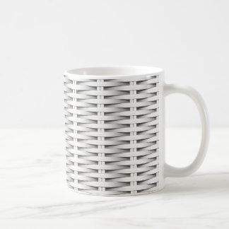 White cane wicker coffee mug