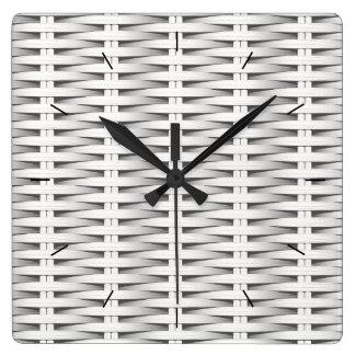 White cane wicker square wall clock