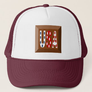 WHITE CAP TRUCKER MAROON SIGNAL DESIGN   THE USA