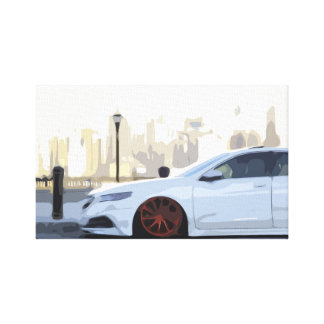 White Car by the Water in New York City Canvas Print