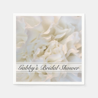 White Carnation Floral Bridal Shower Disposable Napkins