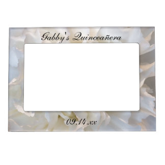 White Carnation Floral Quinceañera Magnetic Picture Frame