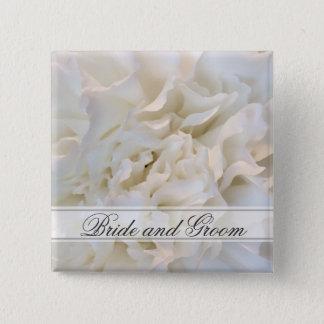 White Carnation Floral Wedding 15 Cm Square Badge