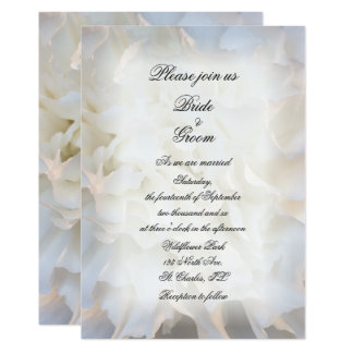 White Carnation Floral Wedding Invitation