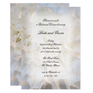 White Carnation Floral Wedding Rehearsal Dinner Card