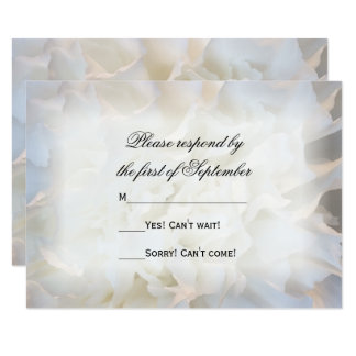 White Carnation Floral Wedding RSVP Response Card