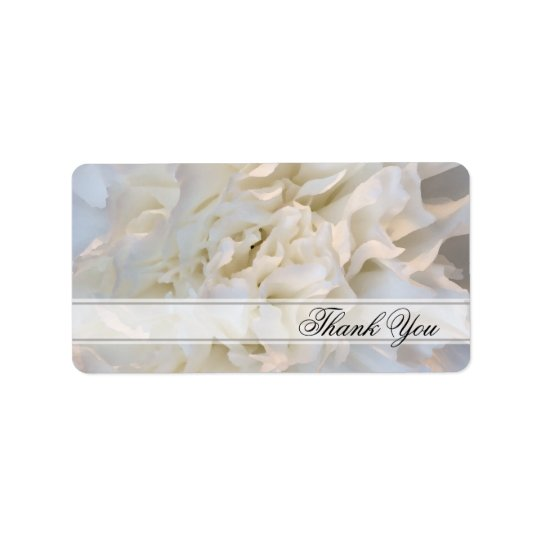 White Carnation Floral Wedding Thank You Favour Label